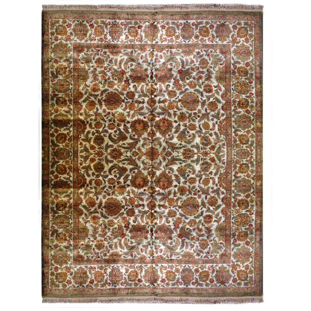 Samad Traditional Green Blue Orange Ivory Wool Rug 5568