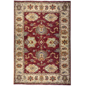 Two Roses Traditional Rust Red Gold Green Wool Rug 7242