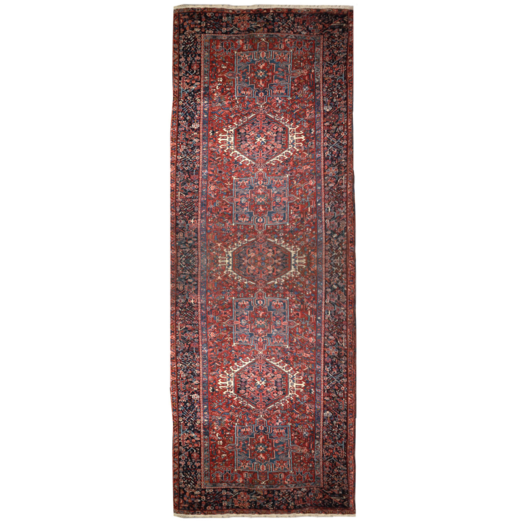 Antique Traditional Red Blue Black Wool Rug 4007