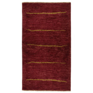 One Of A Kind Modern Gold Red Wool Rug 4258