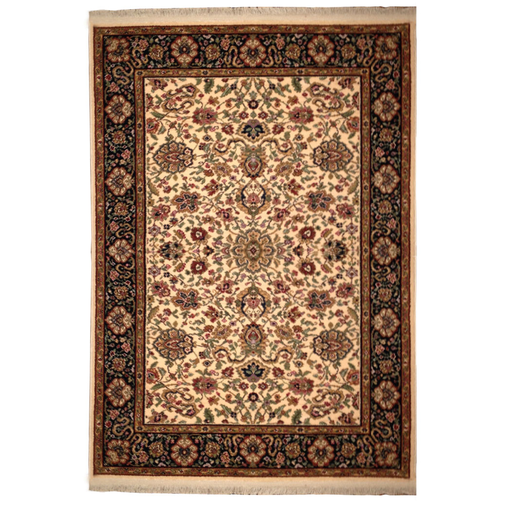 Karastan traditional ivory black green red wool rug 4295