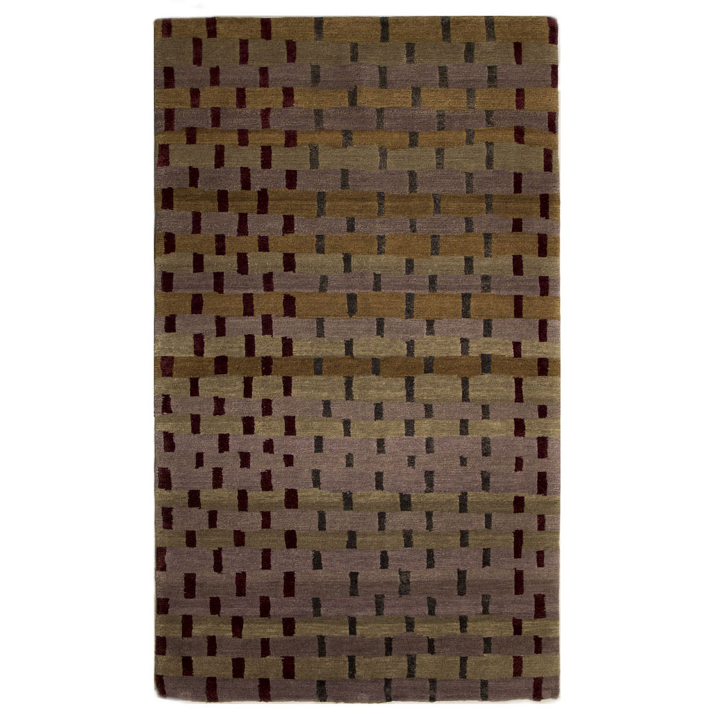 Tufenkian Modern Gold Green Brown Wool And Silk Rug 4432
