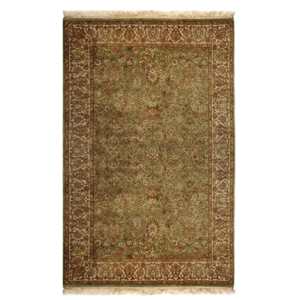 Samad Traditional Green Ivory Brown Tan Wool Rug 4466