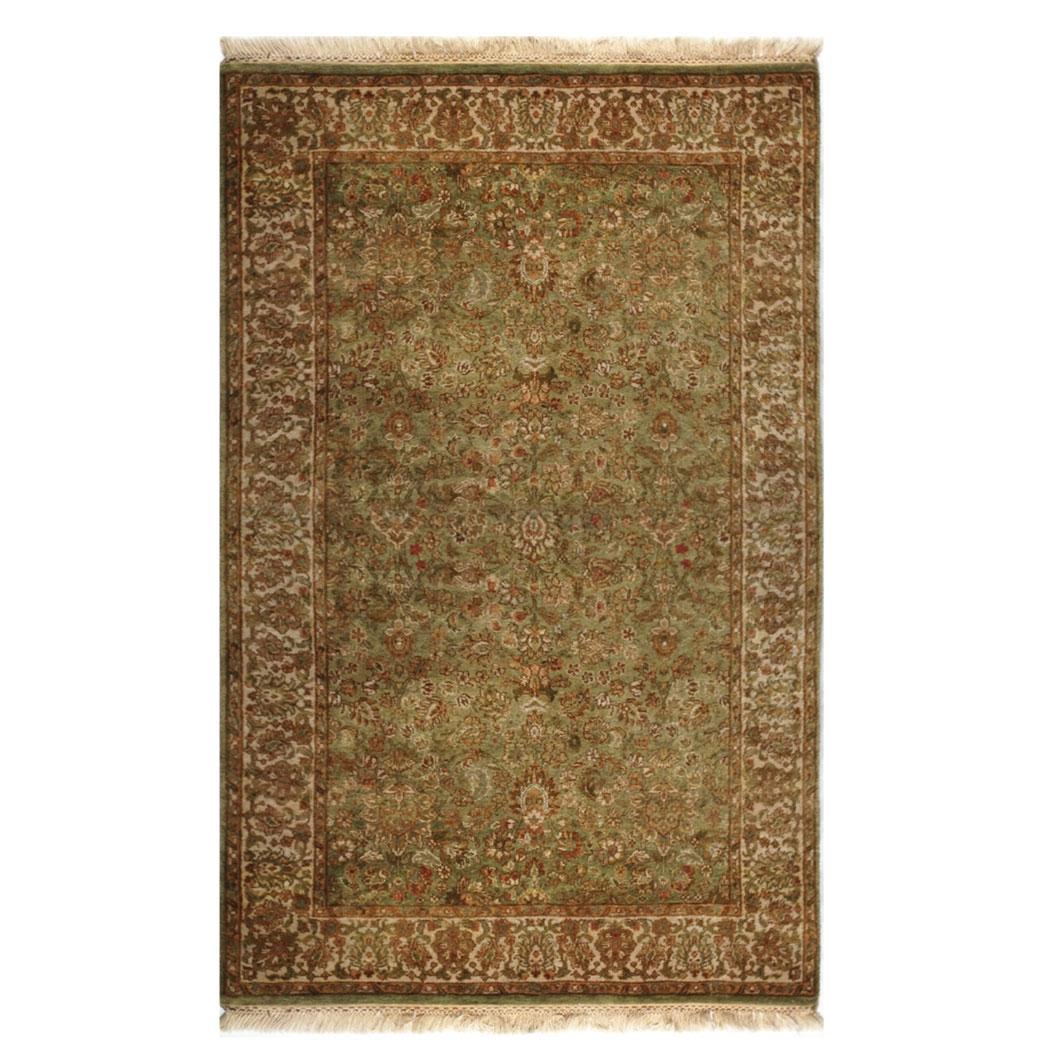 Samad Traditional Green Ivory Brown Tan Wool Rug 4466