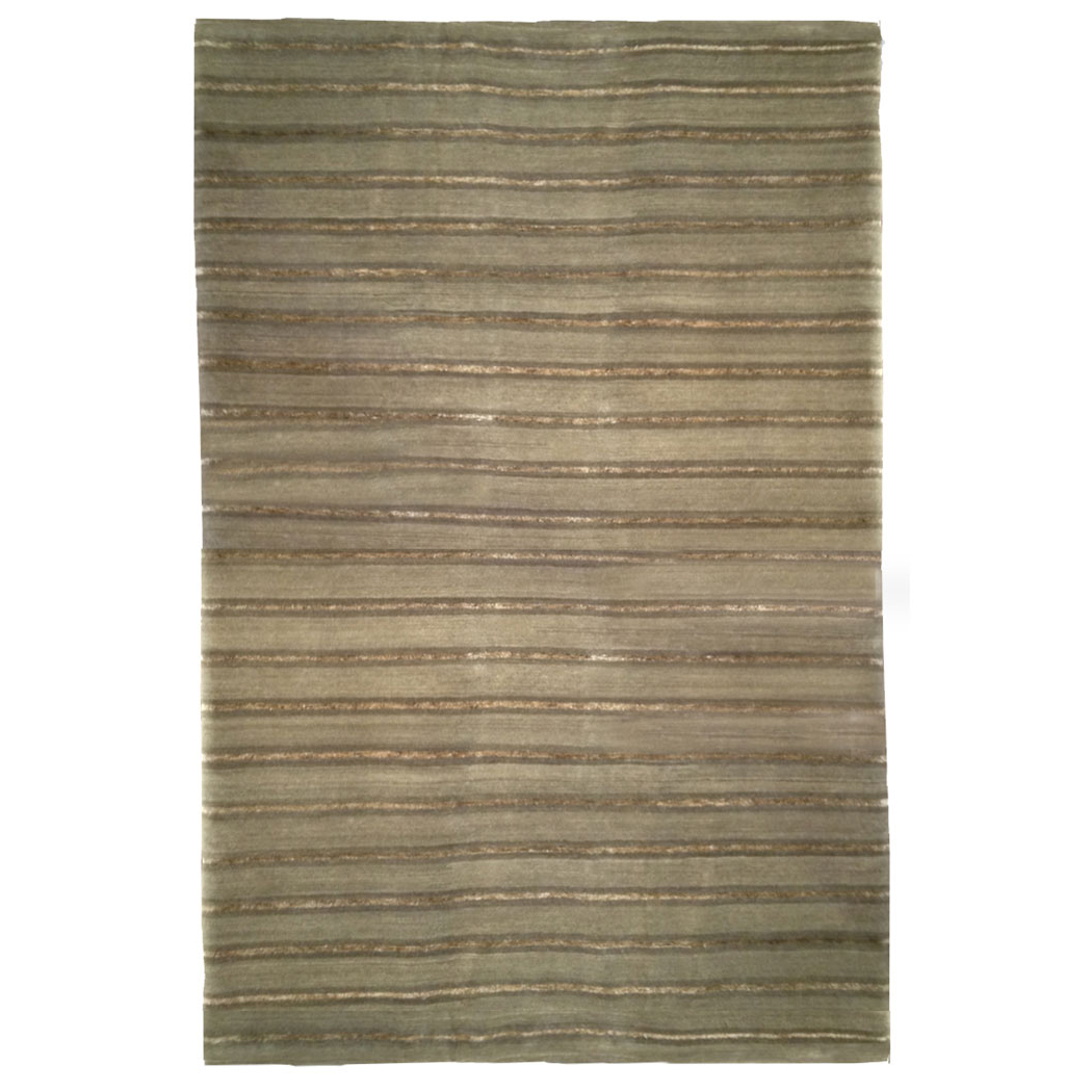 Tufenkian Modern Green Olive Stripes Wool Rug 4815