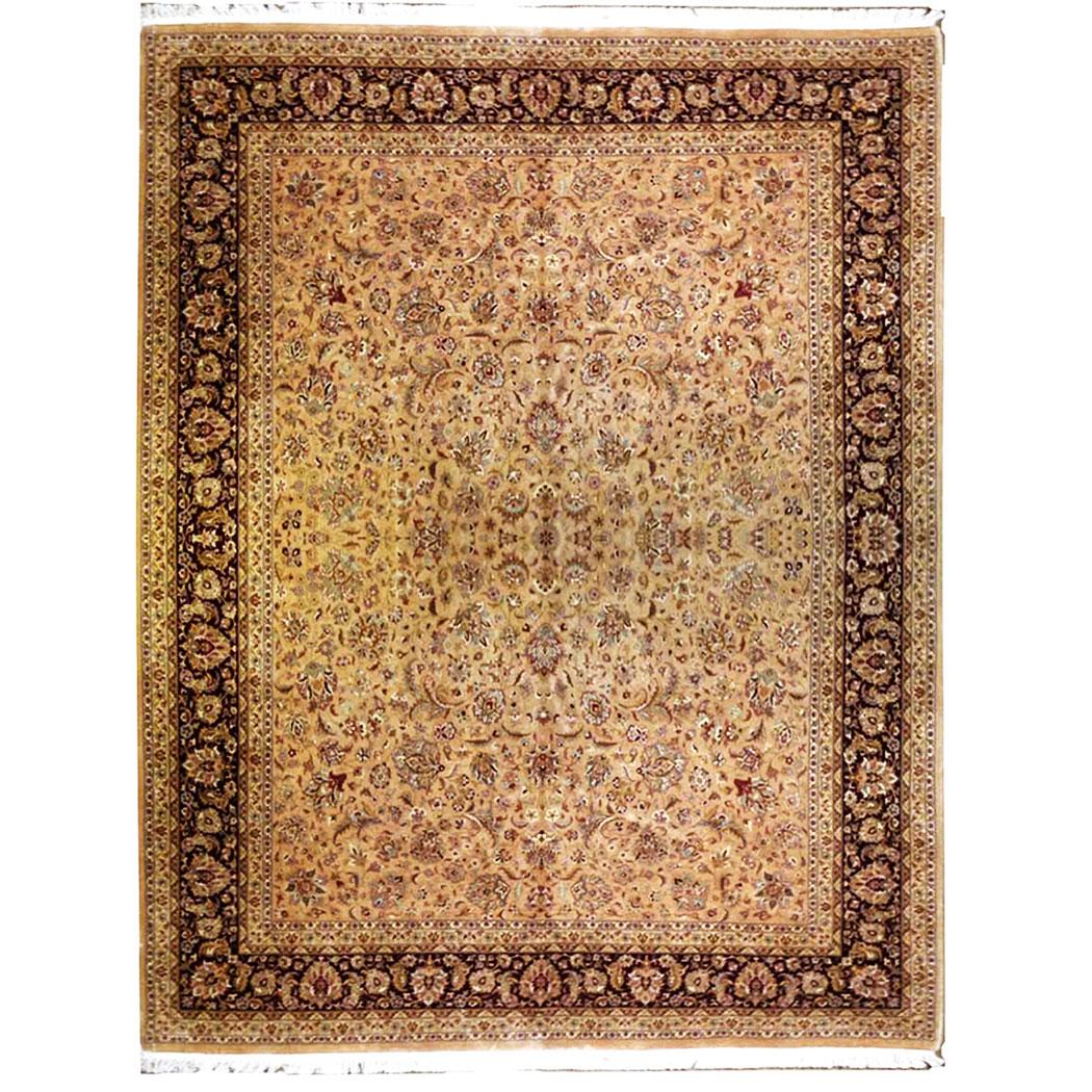 Aziz Traditional Tan Gold Brown Wool Rug 4870 Andonian