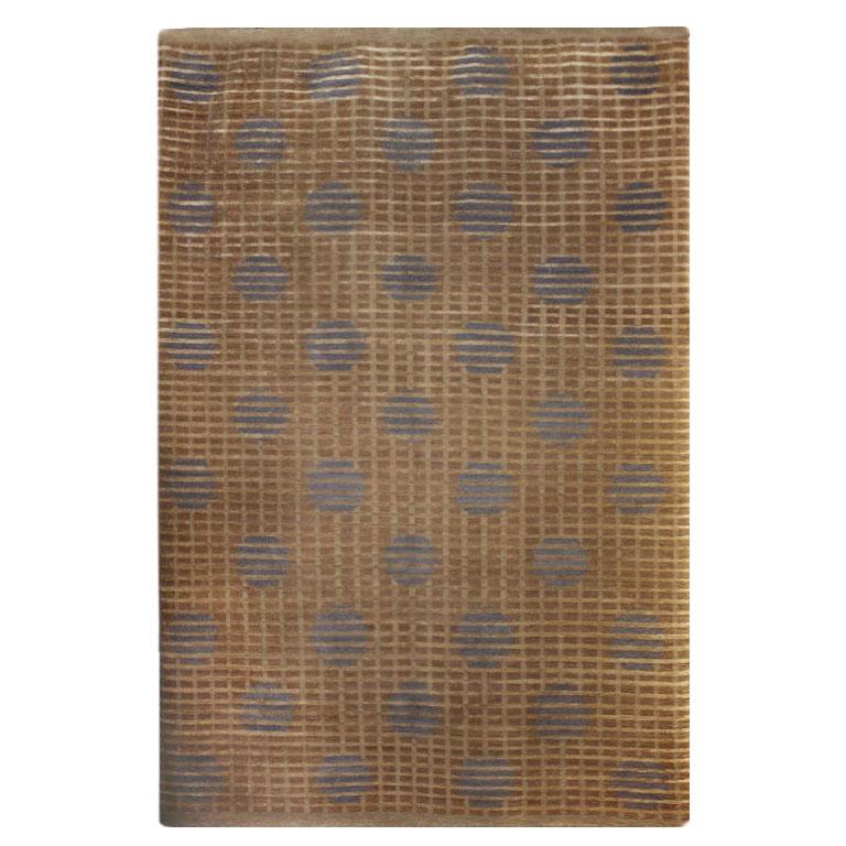 Tufenkian Modern Brown Tan Wool Silk Rug 5040