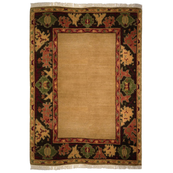 Vintage Rug Seattle: Tufenkian Transitional Gold Black Red Green Wool Rug 5056