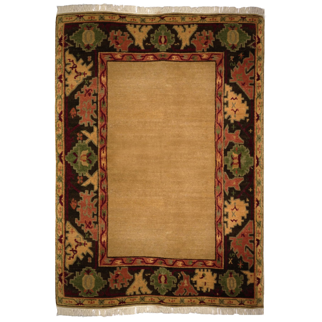 Tufenkian Transitional Gold Black Red Green Wool Rug 5056