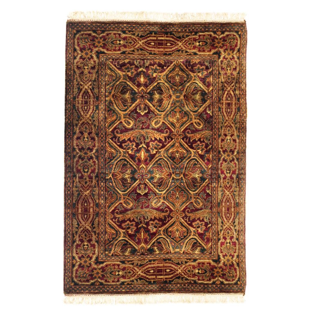 Samad Traditional Green Blue Burgundy Wool Rug 5482