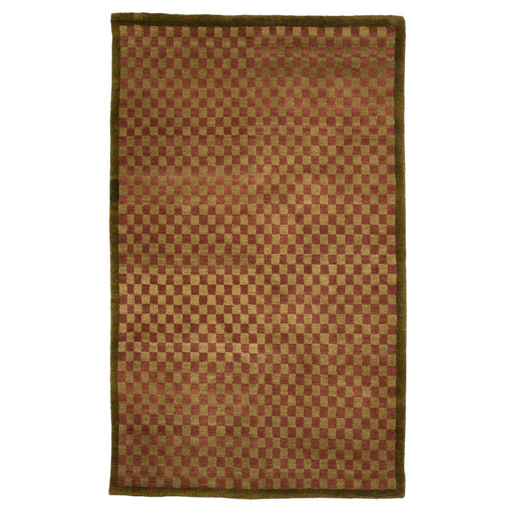 Tufenkian Modern Red Rose Green Wool And Silk Rug 5630 Andonian