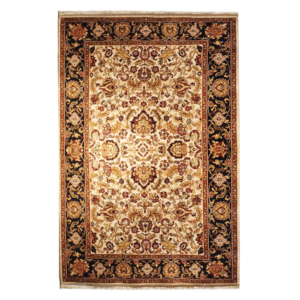 Karastan Modern Black Ivory Gold Red Green Wool Rug 6702