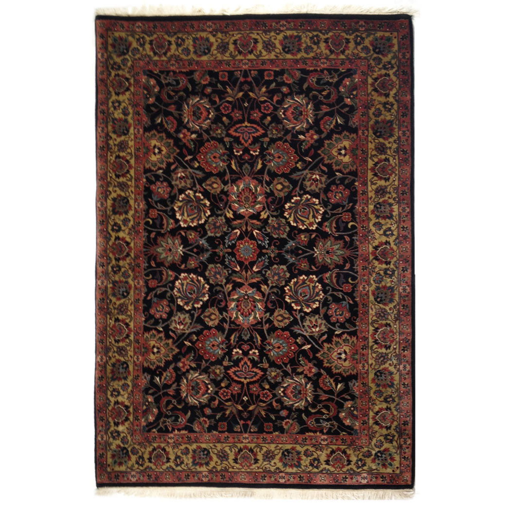 Traditional Black Gold Red Wool Rug