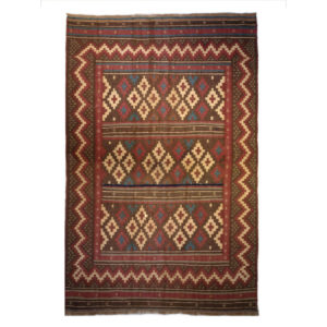 One Of A Kind Traditional Brown Red Ivory Wool Rug 6940