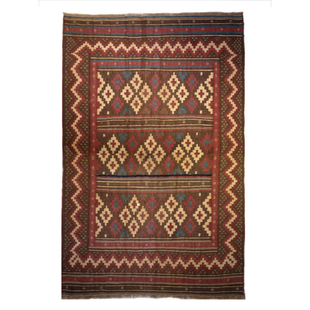 Vintage Rug Seattle: One Of A Kind Traditional Brown Red Ivory Wool Rug 6940
