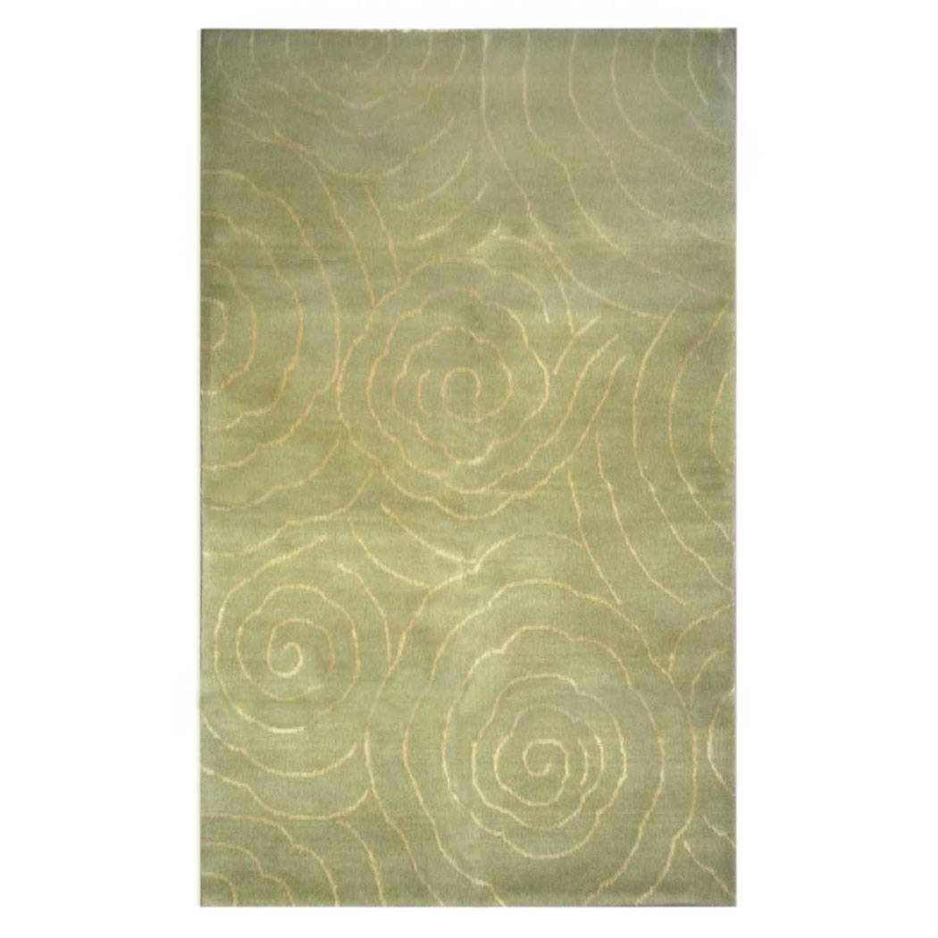 Wool Silk Rugs Contemporary: Tufenkian Modern Green Wool And Silk Rug 7083