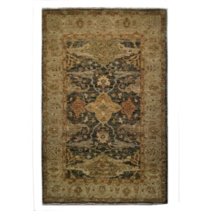 Two Roses Traditional Red Rust Tan Ivory Wool Rug 7269