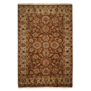 Two Roses Traditional Brown Gold Tan Wool Rug 7507