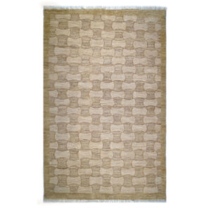 One Of A Kind Modern Tan White Wool Rug 7514