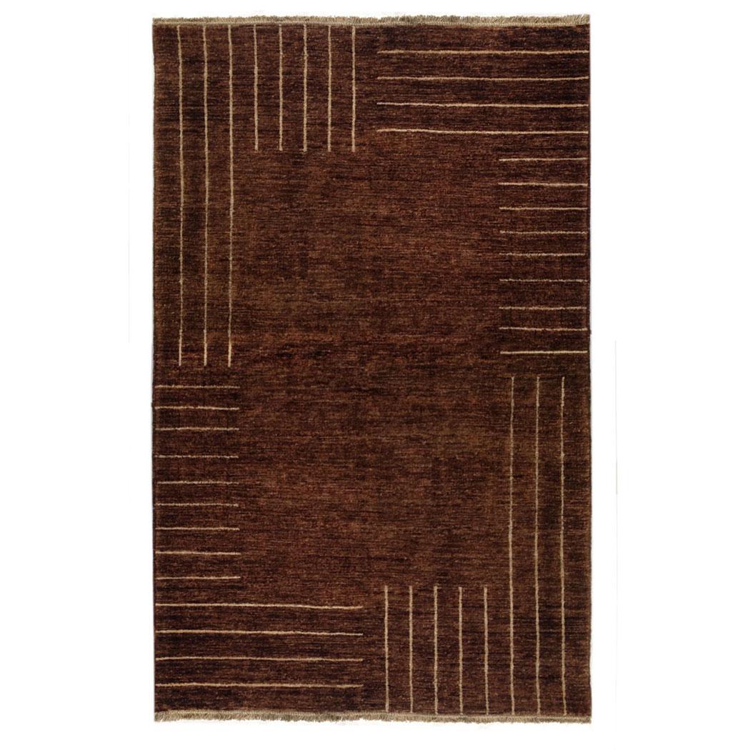 Vintage Rug Seattle: Sartori Modern Brown Stripes Wool Rug 7531