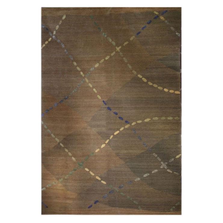 Tufenkian Modern Green Gold Wool Silk Rug 8186