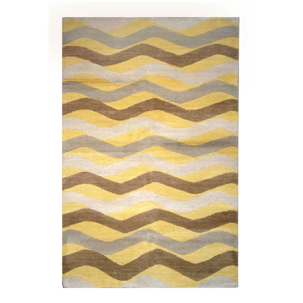 Tufenkian Modern Yellow Brown Gray Wool Rug 8212