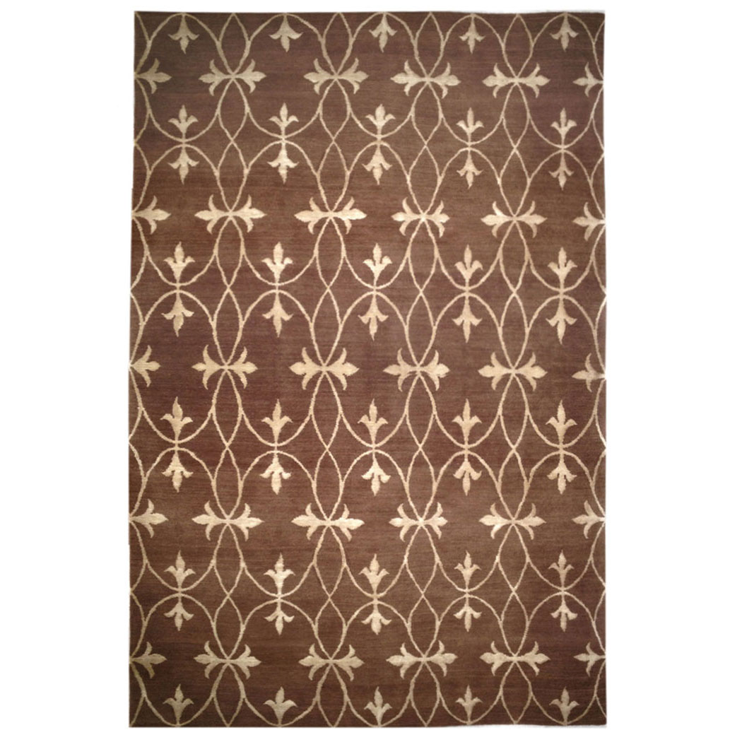 Modern Silk Rug: Caravan Modern Brown White Wool Silk Rug 8456