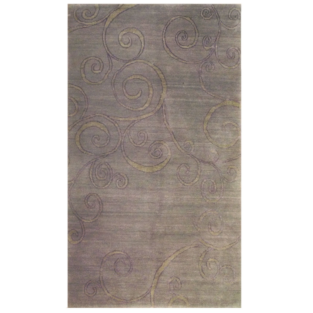 Tufenkian Modern Grey Green Purple Wool And Silk Rug 9133