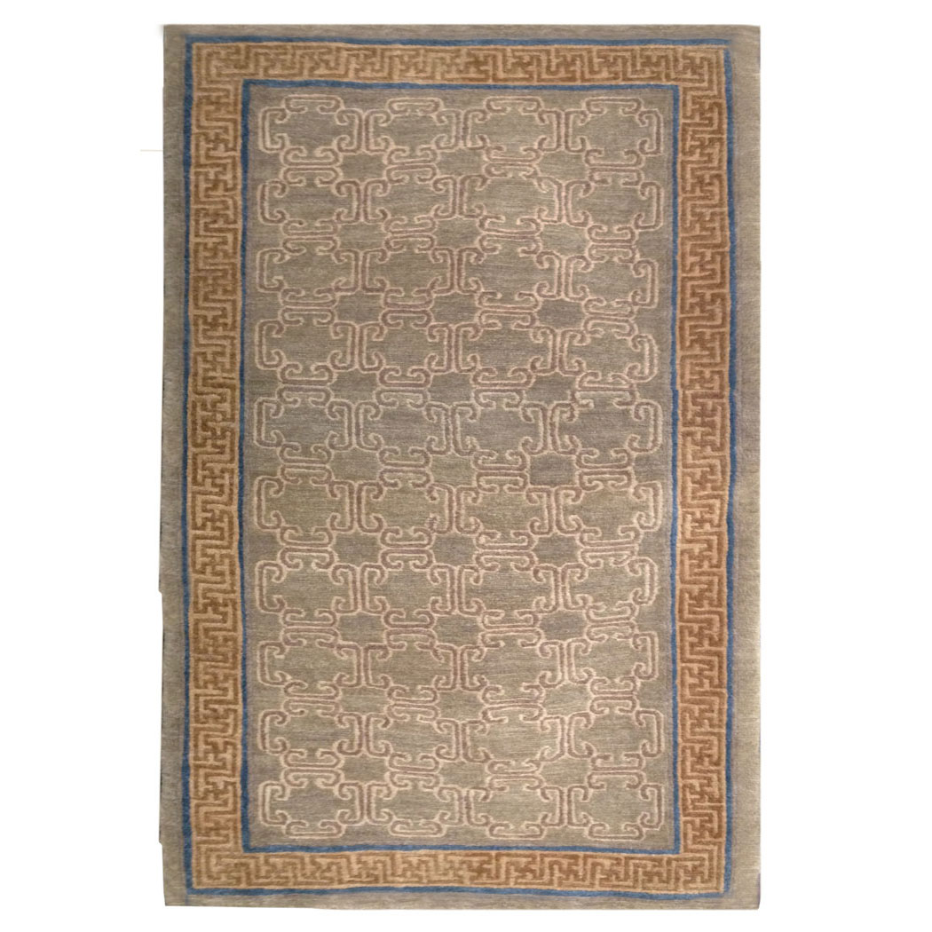 Tufenkian Transitional Tan Brown Blue Wool Rug 9261