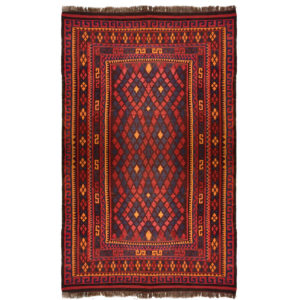 Kilem Tribal Blue Red Orange Wool Rug 9372