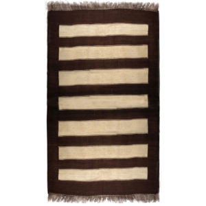 One Of A Kind Modern Brown Ivory Wool Rug 9466